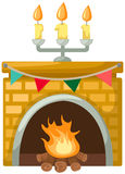 A  fireplace with banner. Illustration of isolated a fireplace with banner Stock Photography