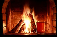 Fireplace beer Stock Image