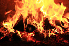 Fireplace with birch firewood and flame Royalty Free Stock Images