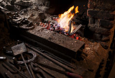Fireplace in blacksmith workshop Royalty Free Stock Photo