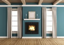 Fireplace in a classic room. Fireplace in a blue classic room with windows and wooden ceiling - 3d rendering Royalty Free Stock Photos