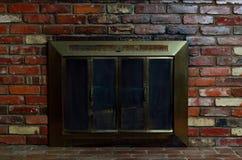Fireplace with Brick Wall Stock Photos