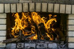 Burning fire flames Royalty Free Stock Photo