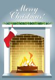 Christmas fireplace with burning fire on gray background. vector illustration