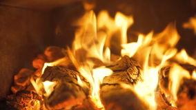 Fireplace with burning fire stock footage