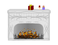 Fireplace with burning fire. Illustration of ornamental fireplace with burning fire, candles and gift Stock Photo