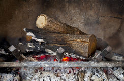 Fireplace with burning wood logs Royalty Free Stock Photography