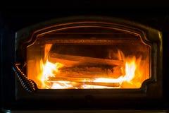 Fireplace Burning Wood Royalty Free Stock Photo