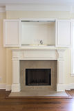 Fireplace with cabinet Royalty Free Stock Images