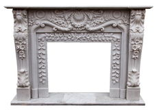 The fireplace carved stone material craft Royalty Free Stock Image