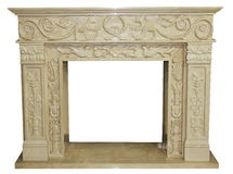 The fireplace carved stone material craft Stock Photo