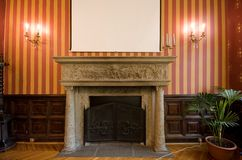 Fireplace in castle Royalty Free Stock Photos