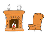 Fireplace with chair Stock Photography