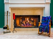 Fireplace and Chair royalty free stock images