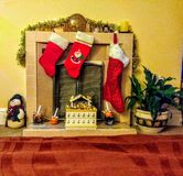 Fireplace for christmas stock images