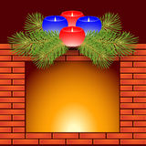Fireplace and Christmas candles. Fireplace, Christmas candles and fir branches Stock Photo