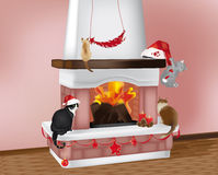 Fireplace and christmas cats. Beautiful christmas scene with 4 cats on the fireplace with christmas decorations Stock Images