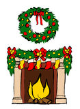 Fireplace with Christmas decoration. Isolated on white. Hand drawn ink sketch Stock Photos