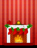 Fireplace Christmas Decoration Stockings Wallpaper. Fireplace Christmas Decoration with Garland Stocking Pillar Candles and Mantel Clock  on Red Wallpaper Royalty Free Stock Photo