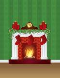 Fireplace with Christmas Decoration Wallpaper Illustration. Fireplace with Christmas Decoration Garland Stockings Candles Mantel Clock with Wallpaper Background Royalty Free Stock Photo