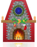 Fireplace with christmas decorations. Vector illustration isolated on white background Stock Photos