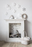 Fireplace. With christmas decorations in comfortable living room Royalty Free Stock Photos