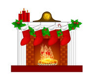 Fireplace Christmas Decorations Stockings Garland Royalty Free Stock Photos