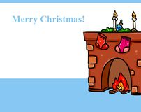 Fireplace Christmas gifts cartoon. Illustration Royalty Free Stock Images