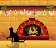 Fireplace at Christmas Stock Photo