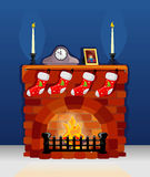 Fireplace on Christmas and New Year. With decoration Stock Photo