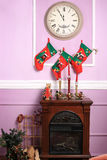 Fireplace Christmas purple background image Stock Photography