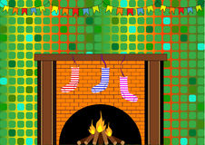 Fireplace with Christmas socks. The fireplace with Christmas socks Stock Images
