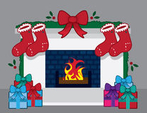 Fireplace Christmas Stockings. Fireplace with christmas decorations and stockings Royalty Free Stock Photos