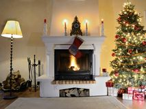 Fireplace at Christmas time stock photo