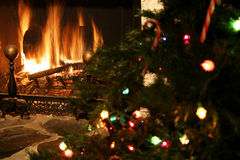 Fireplace & Christmas tree Royalty Free Stock Photo