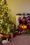 Fireplace and christmas tree royalty free stock image