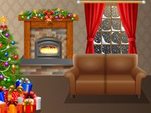 Fireplace and Christmas tree with presents in living room. Illustration of Fireplace and Christmas tree with presents in living room Stock Photography