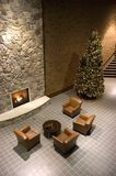 Fireplace, Christmas Tree, Reception Waiting Room. Restful and inspiring architecture in this area set aside for taking a break or rest from the busy and hectic stock photos