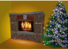 Fireplace and christmas tree. In yellow room. 10 EPS Royalty Free Stock Image