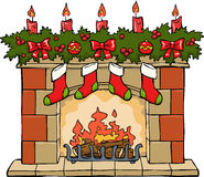 Fireplace in Christmas. On a white background vector Royalty Free Stock Photos