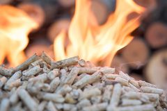 Fireplace. Close up of biomass in flames- fire in fire place stock photo