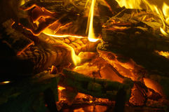 Fireplace. Close up of burning wood in a fireplace Royalty Free Stock Photo