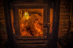 Fireplace. A close-up of a fire in a retro fireplace Royalty Free Stock Photo