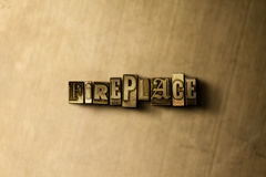 FIREPLACE - close-up of grungy vintage typeset word on metal backdrop. Royalty free stock illustration.  Can be used for online banner ads and direct mail Royalty Free Stock Images