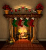 Fireplace_closeup Fotografia de Stock Royalty Free