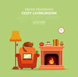 Fireplace. Colorful vector cozy fireplace room interior in cartoon flat style. Fireplace, armchair, lamp, cat, laptop, tea. Comfortable cozy warm fireplace flame Royalty Free Stock Photo