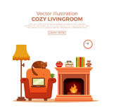 Fireplace. Colorful vector cozy fireplace room interior in cartoon flat style. Fireplace, armchair, lamp, cat, laptop, tea. Comfortable cozy warm fireplace flame Royalty Free Stock Image