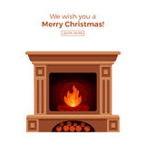 Fireplace. Colorful vector fireplace icon isolated in cartoon flat style. Comfortable cozy warm fireplace flame bright winter Christmas decoration interior Stock Photo