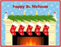 Fireplace on the day of St. Nicholas. Stock Photo