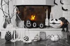 Fireplace decor. Ideas for Halloween. Indoor decoration stock photo